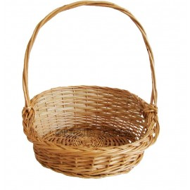 Asymmetric round wicker basket