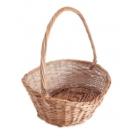 Asymmetric oval wicker basket