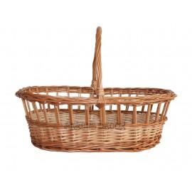 Cos din rachita - oval cu grilaj Cos din rachita oval, cu margine tip grilaj, ideal pentru cadouri, cumparaturi de la targuri tr