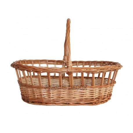 Oval wicker basket with clamp