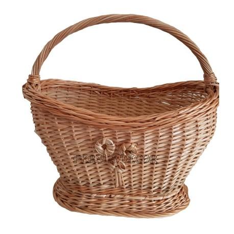White wicker basket with flower