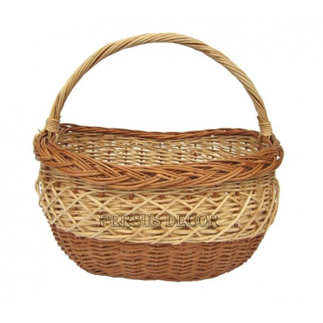 Oval wicker shopping basket - brown and white