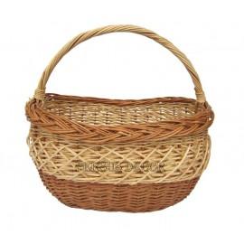 Cos din rachita cumparaturi - oval alb/brun Cos de rachita pentru cumparaturi in doua culori naturale ale rachitei cu o impletit