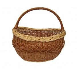 Cos din rachita cumparaturi - oval brun Este un cos de cumparaturi traditional din rachita, de culoarea brun, cu o impletitura c