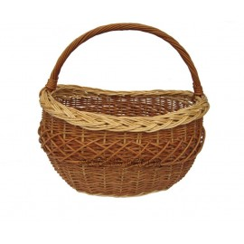 Oval wicker shopping basket - brown