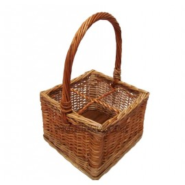 Wicker basket for 4 bottles
