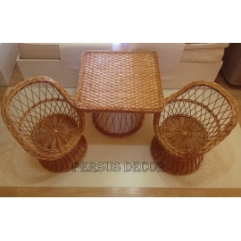 Children's wicker furniture with square table