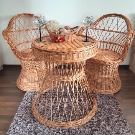 Mobilier terasa din rachita - rotund Set de mobilier din rachita cu 2 scaune si o masa. Un mobilier din rachita ce poate schimba