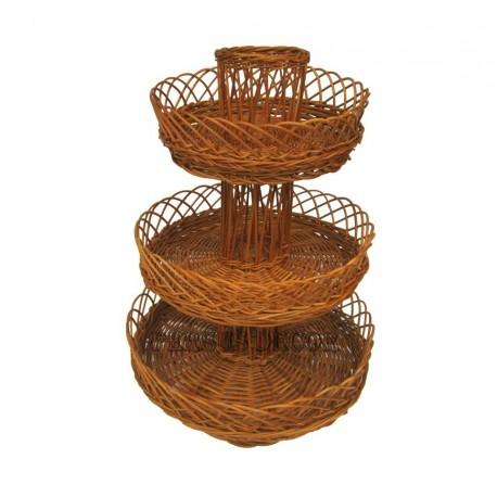 Wicker fruit bowl with three floors