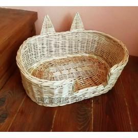 Cos pentru pisica din rachita Cosul pentru pisica, cu urechi, este un cos pentru animale de companie ce le va oferi comfort si