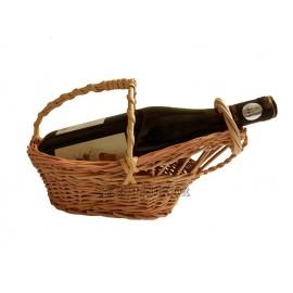 Suport pentru sticla din rachita - barcuta Suport cadou pentru o sticla de vin sau un suport pentru prezentare de sticle intr