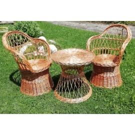 Mobilier din rachita rotund Set mobilier din rachita pentru terasa, gradina, balcon sau un living rustic. Un set elegant form